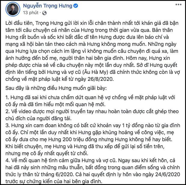 Nguyễn Trọng Hưng khẳng định Âu Hà My không mang thai, nhận sai khi chưa ly hôn đã tìm hiểu người mới-1