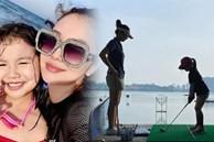 Ảnh con gái Jennifer Phạm chơi golf thượng lưu ở Hà Nội, phát hiện điểm đặc biệt ở cô bé