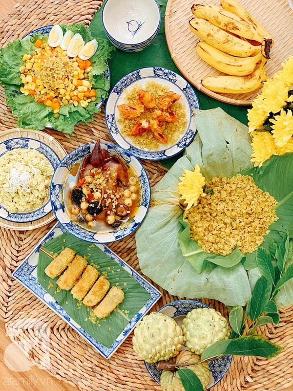 9x Hà Nội chia sẻ mâm cơm cuối tuần ngon đẹp đến ngỡ ngàng, tất cả các món đều được làm từ cốm!-1