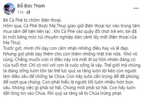 Con trai vợ chồng Thanh Thúy - Đức Thịnh bị nhóm lừa đảo dàn cảnh cướp mất điện thoại ngay giữa chốn đông người-1