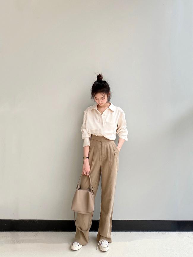 Street style Châu Á đồng loạt tẩy chay quần ôm, chỉ diện thiết kế ống rộng nhưng tạo được cả chục bộ đồ mặc đi làm đẹp hết nấc-10
