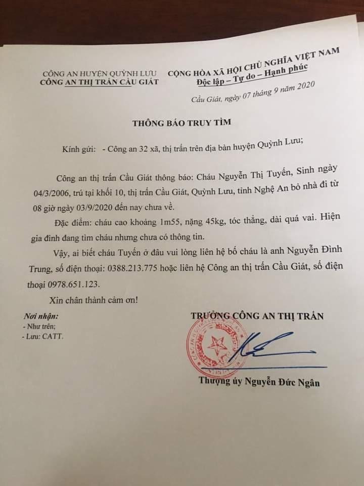 Nữ sinh lớp 9 ở Nghệ An mất tích bí ẩn trước ngày khai giảng-3