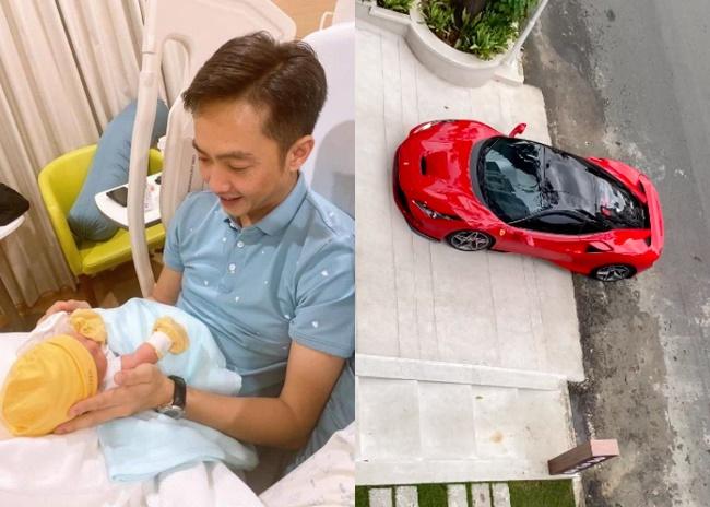 Cường Đô La than thở việc ở nhà chăm con gái cho Đàm Thu Trang lái siêu xe bạc tỉ đi cafe chiều chủ nhật-1