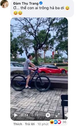 Cường Đô La than thở việc ở nhà chăm con gái cho Đàm Thu Trang lái siêu xe bạc tỉ đi cafe chiều chủ nhật-2
