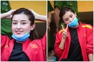 Á hậu Huyền My đến sân xem trận chung kết Cúp Quốc gia