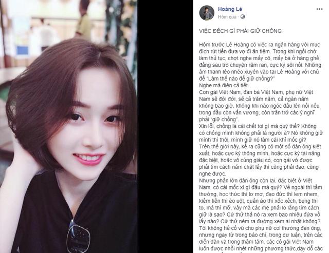 Nhân vụ đánh ghen phố Lý Nam Đế, status Việc gì phải giữ chồng của đạo diễn Lê Hoàng được đào mộ-2