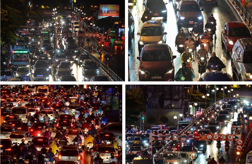 Đường phố Hà Nội đang ùn tắc kinh hoàng hàng giờ liền sau trận mưa lớn, dân công sở kêu trời vì không thể về nhà-13