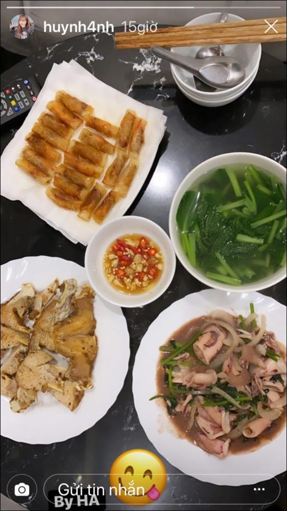 Huỳnh Anh khoe mâm cơm 2 người ăn do chính mình trổ tài,dân tình chúc mừng Quang Hải Đúng là có số hưởng-3