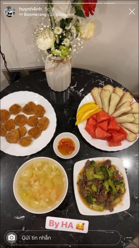 Huỳnh Anh khoe mâm cơm 2 người ăn do chính mình trổ tài,dân tình chúc mừng Quang Hải Đúng là có số hưởng-5