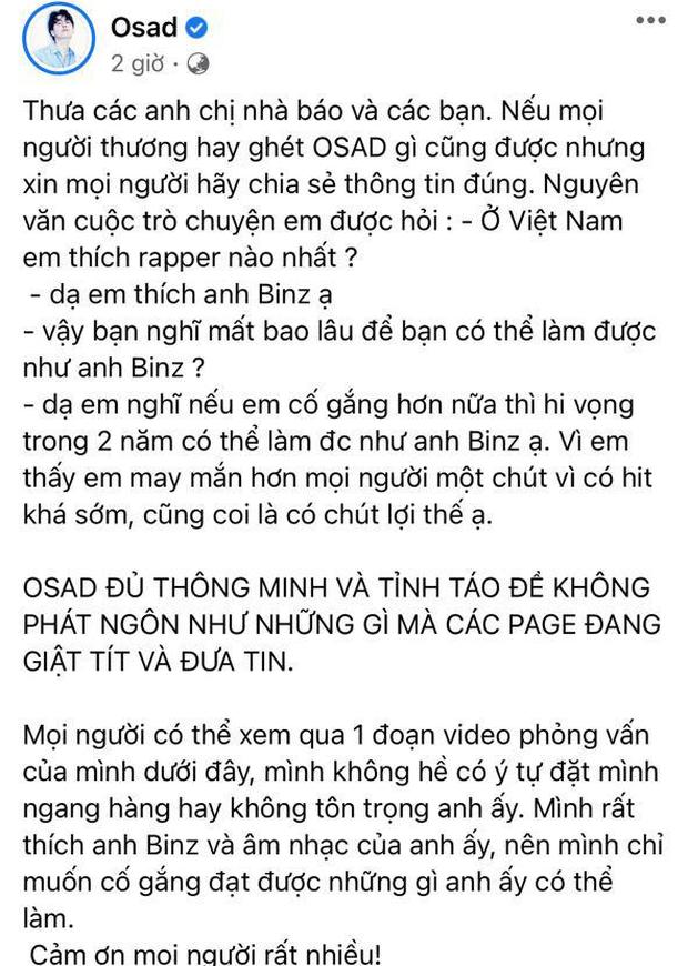 OSAD lên tiếng đính chính sau khi bị chỉ trích gay gắt về phát ngôn gây tranh cãi: Hai năm nữa tôi sẽ thay thế anh Binz-4
