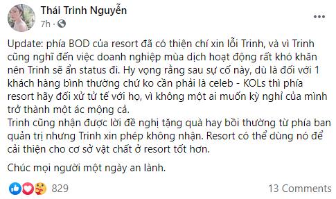 Thái Trinh chính thức tiết lộ cách ứng xử và giải quyết vấn đề của phía resort 5 sao, sau khi bị bóc phốt-1