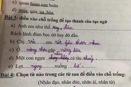 Học sinh lớp 1 điền thành ngữ đến cô giáo cũng không ngờ lầy đến thế, câu cuối còn được khen hay hơn cả bản gốc