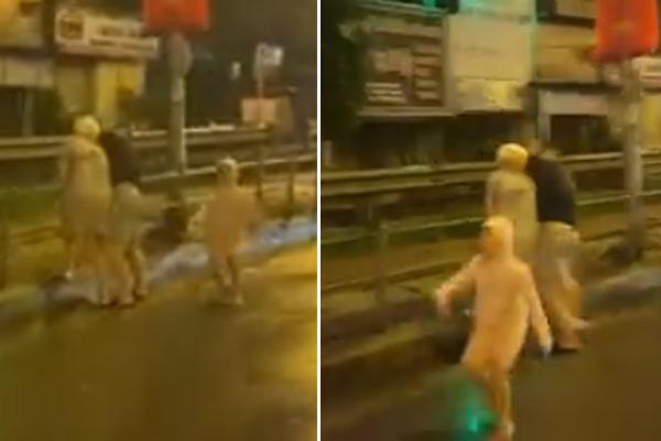 Con nhỏ vừa chạy vừa gào khóc cầu cứu lạc cả giọng vì bố hành hung mẹ giữa đường khiến ai cũng xót xa-2