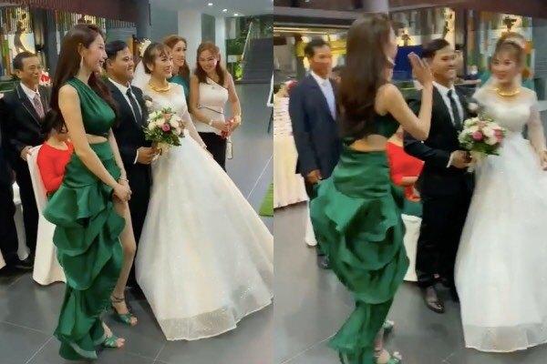 Thủy Tiên diện đầm đuôi cá xanh lá lấn át cả cô dâu nhưng lại được khen ngợi-3