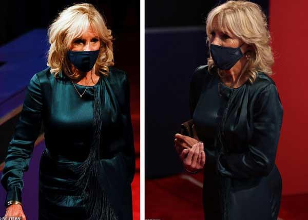 Đệ nhất phu nhân Mỹ Melania Trump đóng bộ suit hàng hiệu cùng gia đình chạm trán quý phu nhân phía đối thủ Joe Biden trong cuộc tranh luận Tổng thống-2