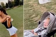 Bé gái 16 tháng tuổi phá lên cười khi nhìn mẹ đánh golf trượt