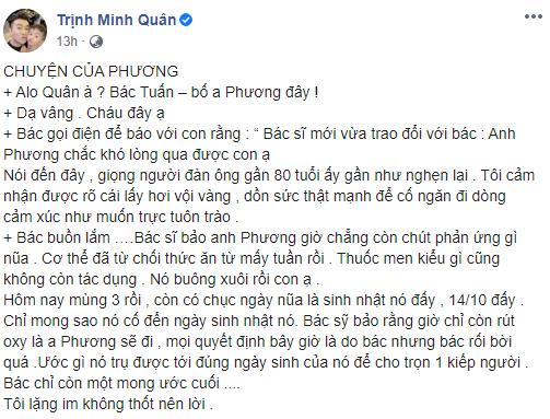 Sau khi rơi vào trạng thái hôn mê sâu, người nhà tiết lộ NSƯT Tuấn Phương khó lòng qua khỏi-1