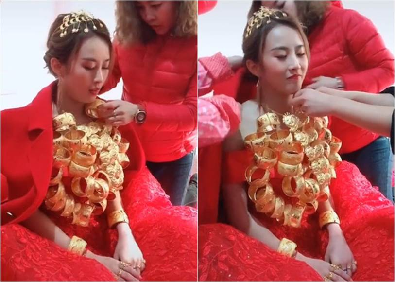 Cô dâu xinh đẹp còng lưng quấn cả chục cân vàng trên cổ, nhìn sang chú rể đeo đúng 2 cọng dây minh họa thì ai cũng phải bật cười-1