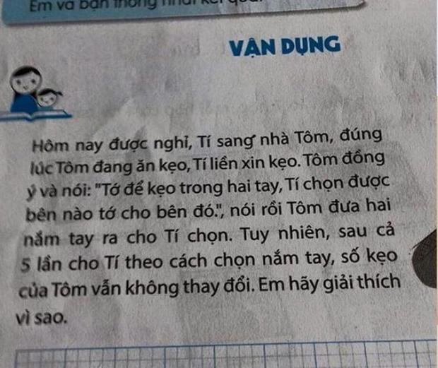 Toán lớp 3: Kẹo nằm ở 1 trong 2 tay Tôm, nhưng Tí chọn 5 lần không trúng, lời giải gây bất ngờ-1