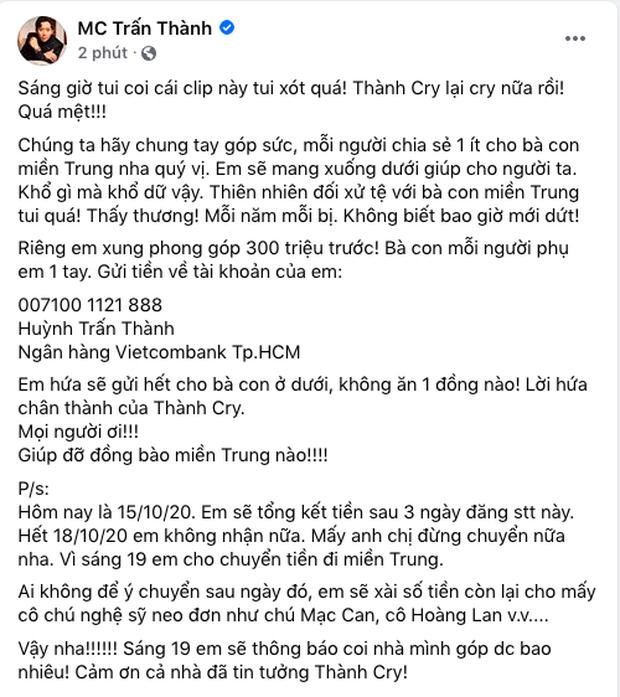 Tiếp bước Thuỷ Tiên, MC Trấn Thành xung phong đóng góp 300 triệu đồng, kêu gọi và quyết định đến miền Trung cứu trợ-1