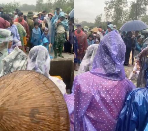 Nhiều người dân tiễn đưa 2 mẹ con người phụ nữ bị nước lũ cuốn trôi ở Huế: Ngoài trời vẫn mưa...-1