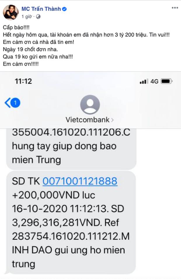 Sau 24 giờ, Trấn Thành đã kêu gọi được 3,2 tỷ đồng, 3 ngày tới sẽ đến miền Trung cứu trợ bà con-1