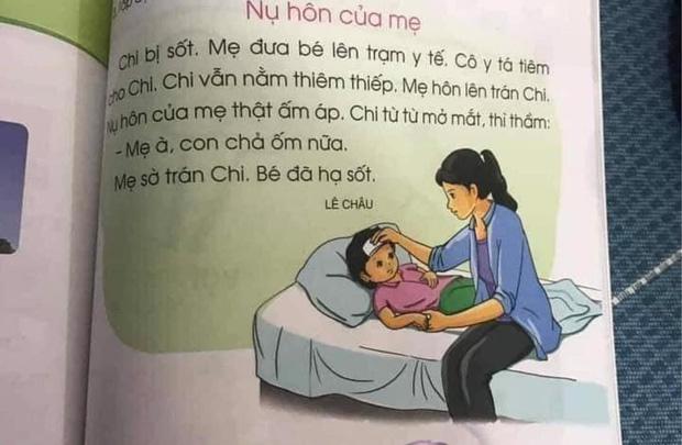 Mẩu truyện trong sách lớp 1 gây tranh cãi: Bé sốt nhưng cô y tá tiêm thì thiêm thiếp, đến khi mẹ hôn lại khỏi bệnh?-1