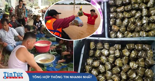 Người dân chung tay gói hàng ngàn chiếc bánh chưng cứu trợ miền Trung
