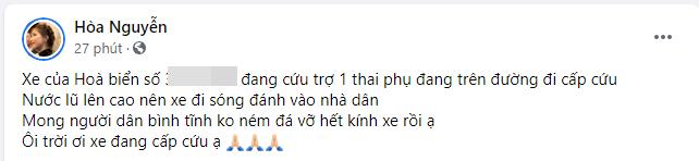 Hòa Minzy van nài vì bị ném đá vỡ kính ô tô trong lúc đưa sản phụ đi cấp cứu ở Hà Tĩnh-1