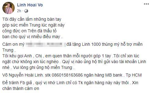 Chỉ trong vòng 2 tiếng, nghệ sĩ Hoài Linh thông báo quyên góp được 200 triệu đồng tiền từ thiện hỗ trợ miền Trung-1