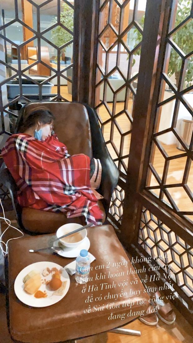 Hoà Minzy thức trắng 2 đêm liền để cứu trợ bà con, kiệt sức đến ngủ thiếp đi tại sân bay về Sài Gòn-1