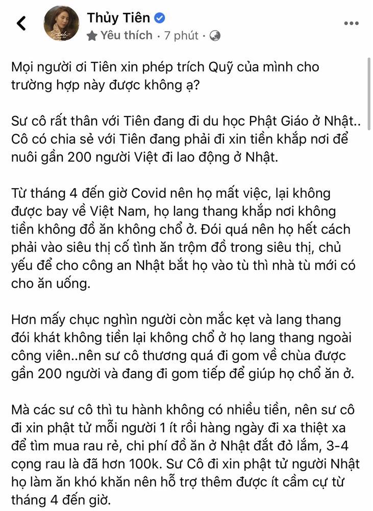 Cộng đồng mạng tranh cãi việc Thủy Tiên xin trích quỹ ủng hộ miền Trung để giúp người lao động Việt Nam ở Nhật-1