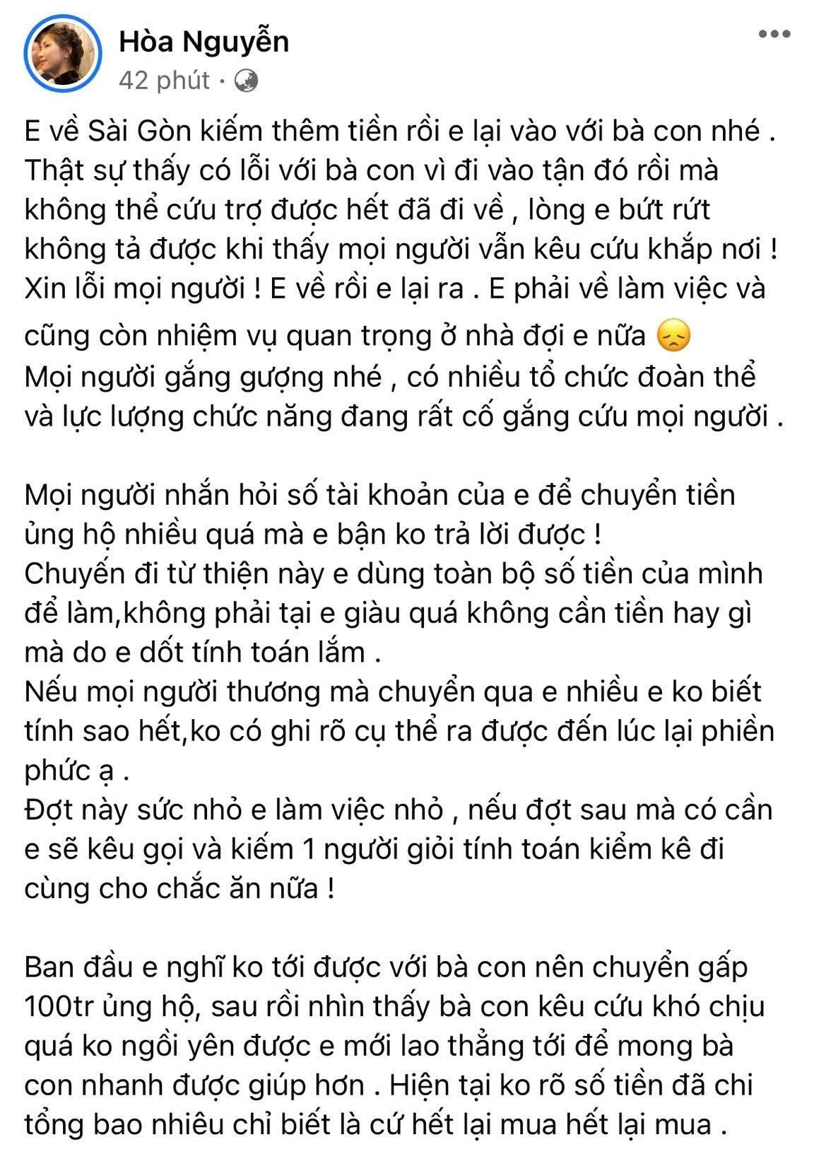 Hòa Minzy tiết lộ lý do không nhận quyên góp mà bỏ tiền túi toàn bộ trong chuyến cứu trợ miền Trung-1