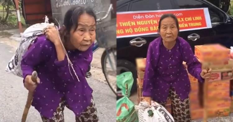 Xúc động hình ảnh những cụ bà còng lưng bê mì gói, quần áo, gói bánh gửi vào miền Trung với lời nhắn: Cho mẹ gửi chút tình thương với đồng bào mình!-1