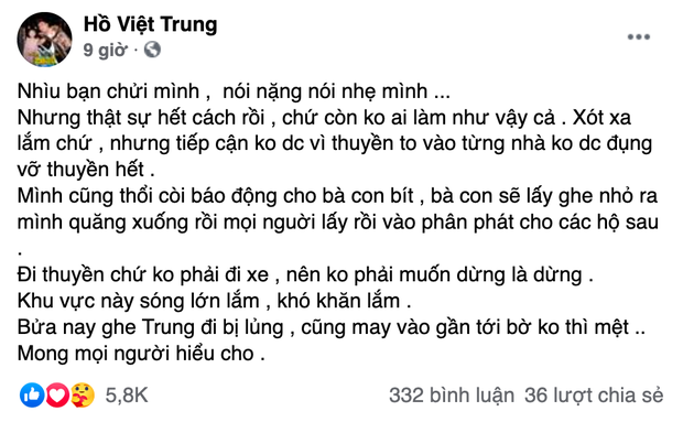 Hồ Việt Trung chính thức lên tiếng khi bị chỉ trích vì quăng quà cứu trợ cho người dân miền Trung, Tiến Luật vào trấn an-2
