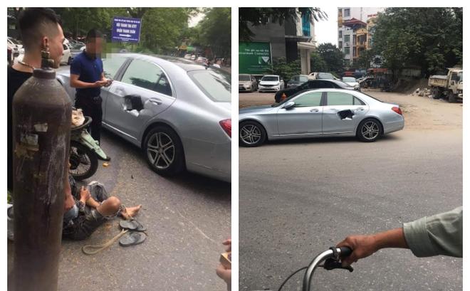 Xe chở bình oxi đâm thủng Mercedes trên phố Hà Nội, hình ảnh hiện trường khiến tất cả kinh hãi-1