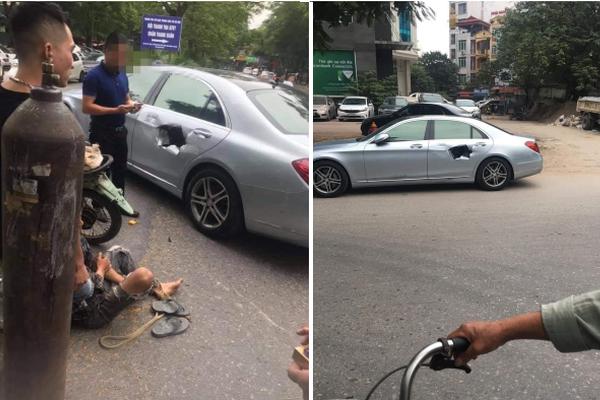 Xe chở bình oxi đâm thủng Mercedes trên phố Hà Nội
