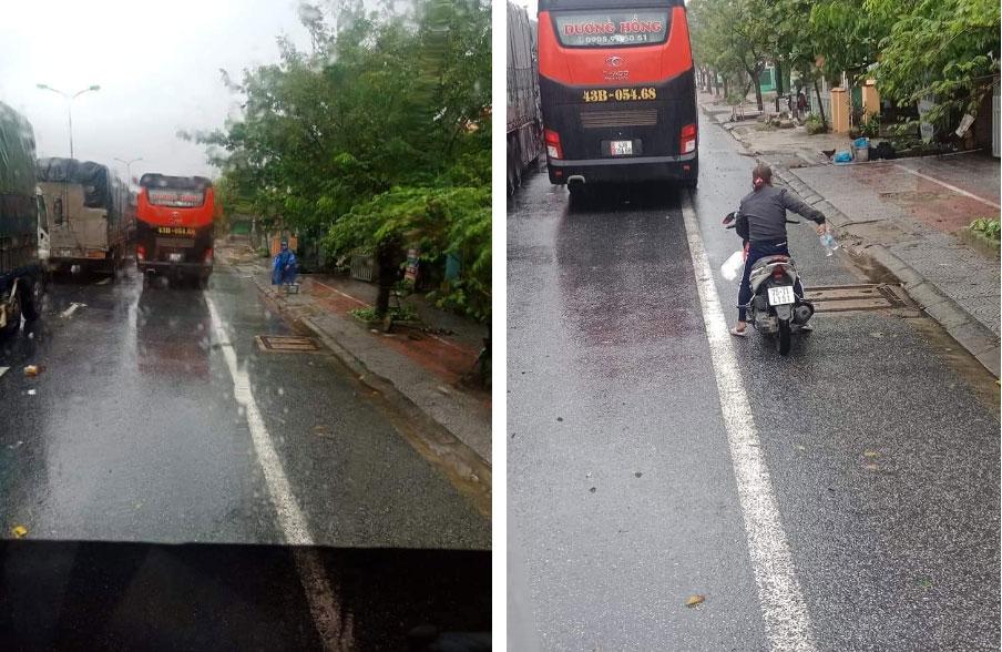Ấm lòng cảnh người dân Huế dù đang cùng chịu ảnh hưởng bão số 9 vẫn gõ cửa từng chiếc xe xếp hàng trú bão để phát cơm ăn, nước uống miễn phí-1