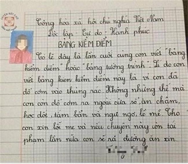 Không viết bài phải làm bản kiểm điểm, cô bé lớp 3 đưa ra lời hứa khiến ai nấy phải thốt lên: Biểu hiện của sự lươn lẹo là đây!-2
