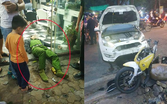 Ô tô tông chiến sĩ công an trọng thương do tài xế đạp nhầm chân phanh thành chân ga-1