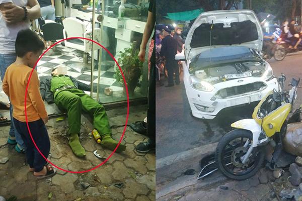 Ô tô tông chiến sĩ công an trọng thương do tài xế đạp nhầm chân phanh thành chân