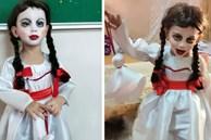 Cậu bé khiến dân tình 'khóc thét' khi hóa trang Annabelle, xem ảnh trước trang điểm quá khác biệt!