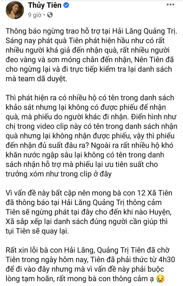 Thủy Tiên dừng phát tiền cứu trợ ở Hải Lăng - Quảng Trị vì thấy người nhận tiền đeo vàng: Chính quyền địa phương nói gì?-1