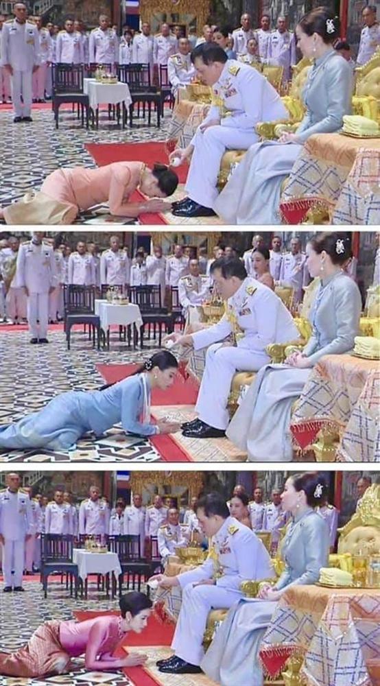 Hoàng hậu Suthida gây chú ý với biểu cảm khác lạ khi Hoàng quý phi Thái Lan quỳ rạp dưới chân Quốc vương-5