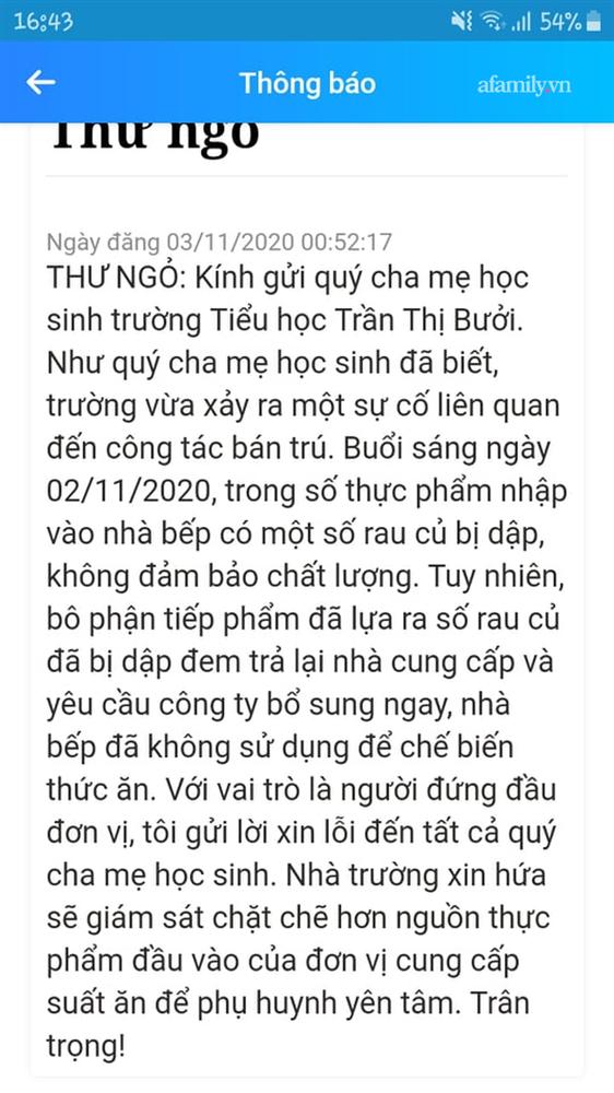 Vụ suất ăn bán trú trường Tiểu học Trần Thị Bưởi: Phụ huynh đón con về giữa trưa vì trường không cho mang cơm theo, hiệu trưởng lên tiếng về vụ việc đêm 2/11-2