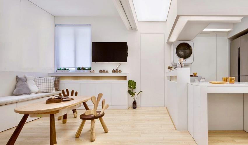 Căn hộ màu trắng chỉ vỏn vẹn 20m² vẫn đủ cho gia đình 6 người nhờ cách bố trí nội thất siêu linh hoạt-1