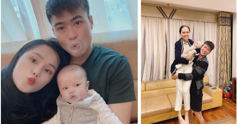 Ông bố trẻ Duy Mạnh lại bị dìm hàng với khoảnh khắc trùm khăn bế con trai đi tiêm, còn bị vợ trêu là trông như bà đẻ-3