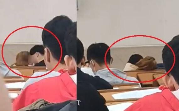 Đỏ mặt với hành động hôn nhau của cặp đôi ngay bàn đầu lớp học, cư dân mạng khóc thét: Uống thuốc tàng hình hết rồi hay sao?-1