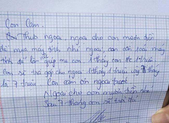 Bé gái ở TP.HCM viết tâm thư hỏi vay bà ngoại 7 triệu đồng, kế hoạch trả nợ chi tiết kèm theo khiến nhiều người phải choáng-1