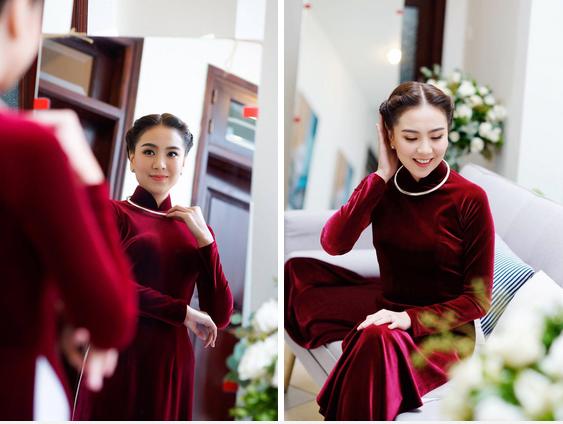 Lên xe hoa cách nhau 4 năm, cô dâu của Công Phượng bất ngờ giống y chang Mai Ngọc khi diện áo dài nhung đỏ trong ngày trọng đại-4